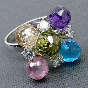 Multi Stone Stylish sterling silver Ring